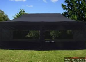 Profi-Faltzelt 4m x 8m Schwarz                                                                                   komplett geschlossen ohne Fenster inkl. Auf-und Abbau