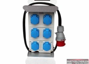 Stromverteiler von 32 A auf 6 x Schuko 230 V / 16 A 3 polig
